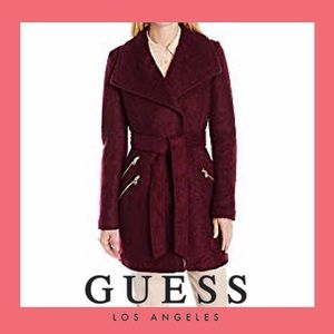Guess Wool Coat with Wing Collar & Belt | LIKE NEW